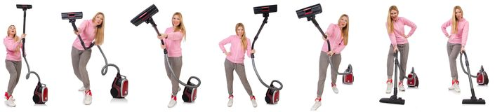 有吸尘器的少妇在白色 免版税库存照片