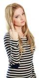 有吸引力白种人白肤金发在30岁中 免版税库存照片