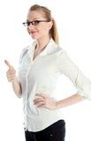 有吸引力白种人白肤金发在30岁中 免版税图库摄影
