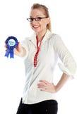 有吸引力白种人白肤金发在30岁中 免版税库存图片