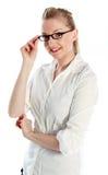 有吸引力白种人白肤金发在30岁中 库存照片