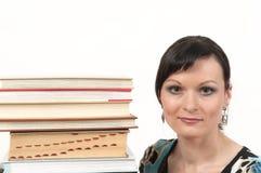 有吸引力的书女孩纵向 免版税图库摄影