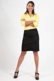 有吸引力的企业微笑的常设妇女年轻&# 免版税库存照片