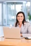 有吸引力的企业膝上型计算机妇女工&# 图库摄影