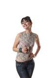 有吸引力的充分的玻璃藏品微笑的妇女 免版税图库摄影