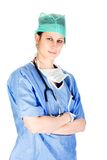 有吸引力的关心白种人女性公共卫生工作者 免版税库存图片