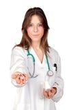 有吸引力的医生现有量药片 库存照片
