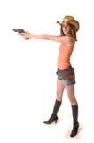有吸引力的启动女牛仔枪 免版税库存照片