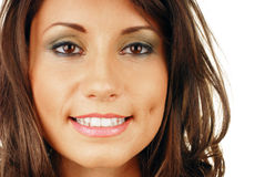 有吸引力的嘴微笑的妇女 免版税图库摄影