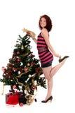 有吸引力的圣诞节星形妇女年轻人 库存图片