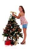 有吸引力的圣诞节星形妇女年轻人 免版税库存照片