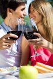 有吸引力的在浪漫野餐的夫妇饮用的酒在countrysid 免版税库存照片
