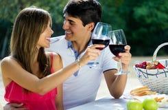 有吸引力的在浪漫野餐的夫妇饮用的酒在countrysid 免版税库存图片