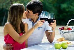 有吸引力的在浪漫野餐的夫妇饮用的酒在countrysid 库存图片