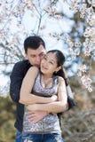 有吸引力的夫妇在开花的公园 免版税库存图片