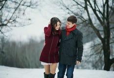 年轻有吸引力的夫妇,爱在多雪的公园 免版税图库摄影