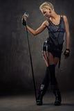 有吸引力的女孩照片废物蒸汽 免版税图库摄影