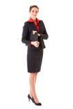 有吸引力的女实业家夹克红色衬衣 库存照片