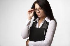 有吸引力的女实业家玻璃 图库摄影