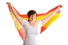 有吸引力的女性标志拿着西班牙年轻&# 免版税图库摄影