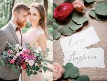 有吸引力的婚礼夫妇和名片的被加倍的图片 免版税库存图片