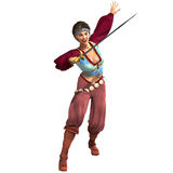 有吸引力的幻想女性海盗剑 免版税库存照片