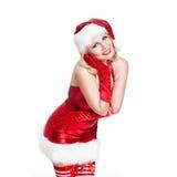 有吸引力的微笑的错过圣诞老人 库存图片