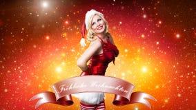 有吸引力的微笑的错过圣诞老人 免版税库存照片