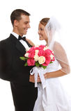 有吸引力的新娘新郎婚礼 免版税图库摄影