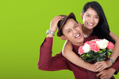 有吸引力的时兴的亚洲青少年的夫妇对照相机微笑 库存图片