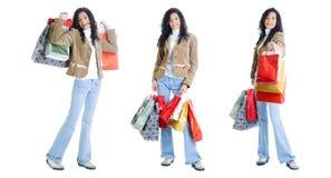 有吸引力的流浪妇人购物年轻人 免版税库存照片