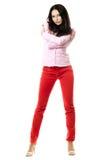 有吸引力的深色的桃红色衬衣年轻人 库存照片