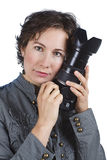 有吸引力的照相机藏品妇女年轻人 免版税库存图片