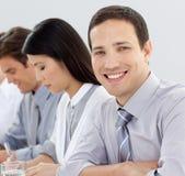 有吸引力的生意人会议 免版税库存图片