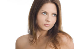 有吸引力的美丽的纵向妇女年轻人 免版税库存图片