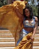 有吸引力的肚皮舞舞蹈演员舞蹈穿戴东部女孩桔子 库存图片