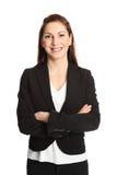 有吸引力的背景深色的女实业家桔子 免版税图库摄影