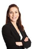有吸引力的背景深色的女实业家桔子 免版税库存图片
