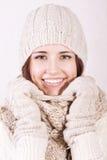 有吸引力的衣裳女孩冬天 免版税图库摄影