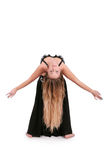 有吸引力的长期腹部白肤金发的舞蹈&# 免版税库存照片