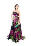 有吸引力的黑色礼服端庄的妇女年轻&# 免版税图库摄影