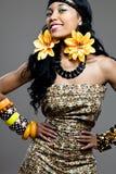 年轻美好的非洲时装模特儿。 免版税库存照片