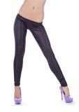 有吸引力黑色女性绑腿佩带 免版税库存照片
