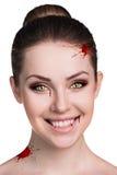 有吸血鬼犬齿的妇女 库存照片