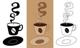 有味道和鲜美在杯子的咖啡有茶碟平的象集合传染媒介例证的EPS10 免版税库存照片