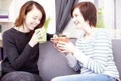有咖啡杯的两个愉快的女性朋友 库存照片