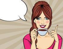 有咖啡杯的性感的流行艺术妇女 向量例证