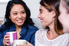 有咖啡杯的愉快的女性朋友坐沙发 免版税图库摄影