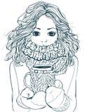 有咖啡杯的逗人喜爱的冬天女孩 库存图片