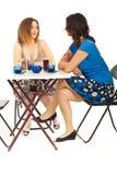 有咖啡的交谈二名妇女 库存照片